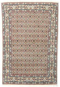 Moud Rug 97X145 Authentic  Oriental Handknotted Light Brown/Light Grey (Wool/Silk, Persia/Iran)