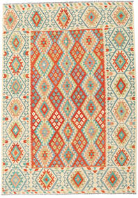 Kilim Afghan Old Style Rug 209X298 Authentic  Oriental Handwoven Beige/Orange (Wool, Afghanistan)