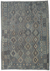 Kilim Afghan Old Style Rug 208X292 Authentic  Oriental Handwoven Dark Grey/Green  (Wool, Afghanistan)