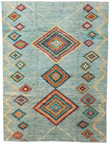 Moroccan Berber - Afghanistan Rug 203X274 Authentic  Modern Handknotted Light Grey/Turquoise Blue (Wool, Afghanistan)