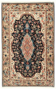 Ilam Sherkat Farsh Silk Rug 139X210 Authentic  Oriental Handknotted Beige/Dark Brown (Wool/Silk, Persia/Iran)