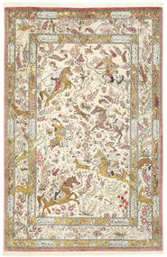 Qum Silk Rug 132X203 Authentic Oriental Handknotted Dark Beige/Light Grey (Silk, Persia/Iran)