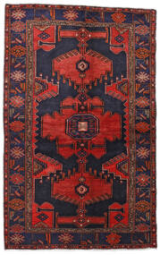 Hamadan Rug 132X211 Authentic Oriental Handknotted Dark Purple/Dark Red (Wool, Persia/Iran)