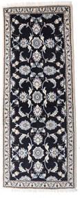Nain Rug 79X194 Authentic  Oriental Handknotted Hallway Runner  Dark Purple/Light Grey (Wool, Persia/Iran)