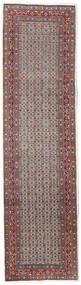 Moud Rug 80X292 Authentic  Oriental Handknotted Hallway Runner  Dark Red/Light Grey (Wool/Silk, Persia/Iran)