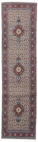 Moud Rug 76X293 Authentic  Oriental Handknotted Hallway Runner  Light Grey/Dark Brown (Wool/Silk, Persia/Iran)