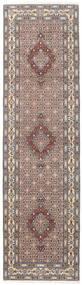 Moud Rug 80X292 Authentic  Oriental Handknotted Hallway Runner  Light Grey/Dark Brown (Wool/Silk, Persia/Iran)