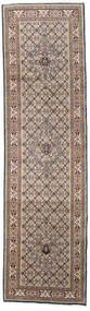 Moud Rug 81X296 Authentic  Oriental Handknotted Hallway Runner  Light Grey/White/Creme (Wool/Silk, Persia/Iran)