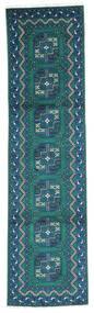 Afghan Rug 80X300 Authentic  Oriental Handknotted Hallway Runner  Dark Turquoise  /Dark Blue (Wool, Afghanistan)
