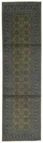 Afghan Rug 80X300 Authentic  Oriental Handknotted Hallway Runner  Dark Grey/Dark Green (Wool, Afghanistan)