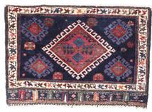 Afshar/Sirjan Rug 43X72 Authentic  Oriental Handknotted Dark Purple/White/Creme (Wool, Persia/Iran)