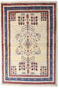 Loribaft Persia Rug 98X145 Authentic  Modern Handknotted Beige/Dark Purple (Wool, Persia/Iran)