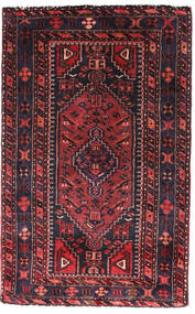 Hamadan Rug 90X140 Authentic Oriental Handknotted Black/Dark Red (Wool, Persia/Iran)
