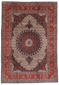 Moud Rug 200X290 Authentic  Oriental Handknotted Dark Red/Dark Brown/Light Grey (Wool/Silk, Persia/Iran)