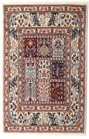 Moud Rug 76X117 Authentic Oriental Handknotted Beige/Dark Brown (Wool/Silk, Persia/Iran)