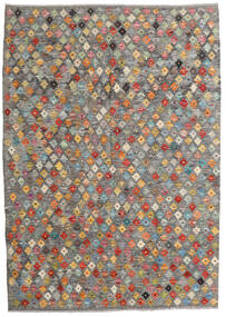 Kilim Afghan Old Style Rug 130X185 Authentic Oriental Handwoven Light Grey/Dark Grey (Wool, Afghanistan)