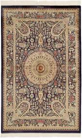 Qum Silk Rug 99X157 Authentic  Oriental Handknotted Dark Brown/Brown (Silk, Persia/Iran)