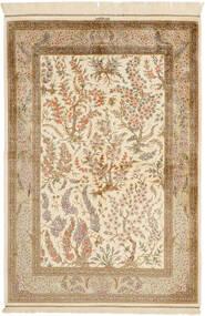 Qum Silk Rug 100X148 Authentic  Oriental Handknotted Beige/Light Brown (Silk, Persia/Iran)