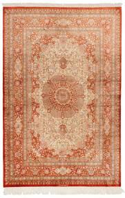 Qum Silk Rug 130X197 Authentic  Oriental Handknotted Light Brown/Crimson Red (Silk, Persia/Iran)