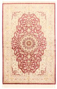 Qum Silk Rug 132X201 Authentic  Oriental Handknotted Beige/Light Pink (Silk, Persia/Iran)