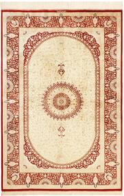 Qum Silk Rug 134X197 Authentic  Oriental Handknotted Beige/Crimson Red (Silk, Persia/Iran)