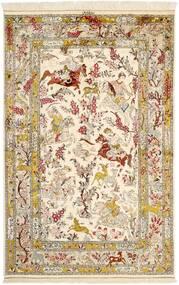Qum Silk Rug 131X203 Authentic Oriental Handknotted Beige/Brown (Silk, Persia/Iran)
