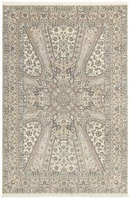 Nain 6La Rug 206X303 Authentic  Oriental Handknotted Light Grey/Beige (Wool/Silk, Persia/Iran)