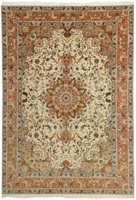 Tabriz 50 Raj Rug 253X358 Authentic  Oriental Handknotted Brown/Light Brown/Dark Beige Large (Wool/Silk, Persia/Iran)