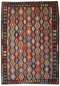 Kilim Afghan Old Style Rug 205X297 Authentic  Oriental Handwoven Dark Brown/Dark Red (Wool, Afghanistan)