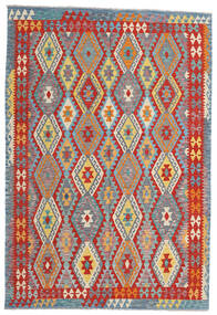 Kilim Afghan Old Style Rug 199X293 Authentic  Oriental Handwoven Light Grey/Rust Red (Wool, Afghanistan)