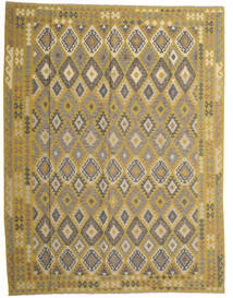 Kilim Afghan Old Style Rug 298X389 Authentic  Oriental Handwoven Olive Green/Dark Grey Large (Wool, Afghanistan)