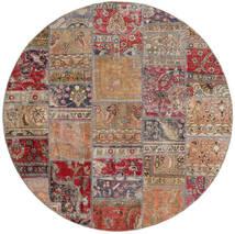 Patchwork - Persien/Iran Rug Ø 200 Authentic Modern Handknotted Round Light Grey/Dark Red (Wool, Persia/Iran)