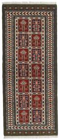 Turkaman Rug 82X196 Authentic  Oriental Handknotted Hallway Runner  Black/Dark Brown (Wool, Persia/Iran)