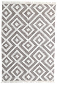 Bamboo Silk Kilim Rug 140X200 Authentic  Modern Handwoven Light Grey/White/Creme (Wool/Bamboo Silk, India)