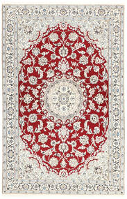 Nain 9La Rug 115X181 Authentic  Oriental Handknotted Light Grey/Beige/Dark Red (Wool/Silk, Persia/Iran)