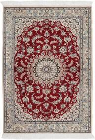 Nain 9La Rug 106X148 Authentic  Oriental Handknotted Light Grey/Dark Red (Wool/Silk, Persia/Iran)