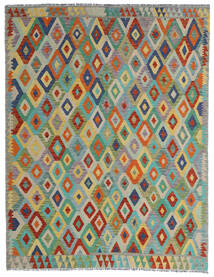 Kilim Afghan Old Style Rug 190X247 Authentic Oriental Handwoven Light Grey/Dark Green (Wool, Afghanistan)