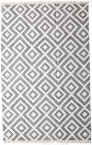 Bamboo Silk Kilim Rug 200X300 Authentic  Modern Handwoven Light Grey/Dark Grey/White/Creme (Wool/Bamboo Silk, India)