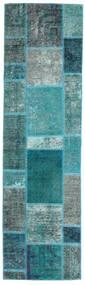 Patchwork - Persien/Iran Rug 70X249 Authentic  Modern Handknotted Hallway Runner  Dark Turquoise  /Turquoise Blue (Wool, Persia/Iran)