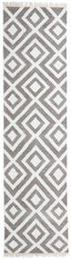 Bamboo Silk Kilim Rug 80X300 Authentic  Modern Handwoven Hallway Runner  Light Grey/White/Creme (Wool/Bamboo Silk, India)