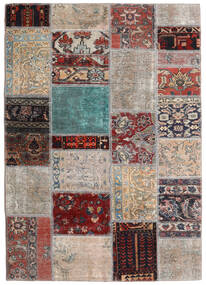 Patchwork - Persien/Iran Rug 141X198 Authentic Modern Handknotted Light Grey/Dark Brown (Wool, Persia/Iran)