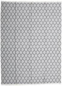 Bamboo Silk Kilim Rug 300X400 Authentic  Modern Handwoven Light Grey/White/Creme Large (Wool/Bamboo Silk, India)