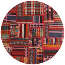 Tekkeh Kilim Rug Ø 150 Authentic Modern Handwoven Round Dark Red/Rust Red (Wool, Persia/Iran)