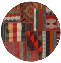 Tekkeh Kilim Rug Ø 100 Authentic Modern Handwoven Round Dark Red/Black (Wool, Persia/Iran)