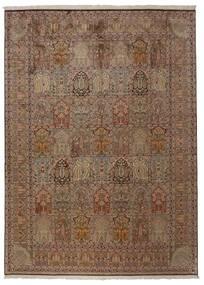 Kashmir Pure Silk Rug 248X336 Authentic  Oriental Handknotted Brown/Light Grey (Silk, India)