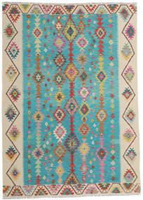 Kilim Afghan Old Style Rug 203X283 Authentic Oriental Handwoven Turquoise Blue/Dark Beige (Wool, Afghanistan)
