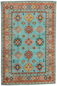 Kazak Rug 200X304 Authentic  Oriental Handknotted Turquoise Blue/Crimson Red (Wool, Afghanistan)