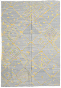 Kilim Modern Rug 206X298 Authentic  Modern Handwoven Light Grey/Dark Beige (Wool, Afghanistan)