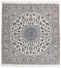 Nain 9La Rug 147X153 Authentic  Oriental Handknotted Square Light Grey/Beige (Wool/Silk, Persia/Iran)