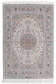 Isfahan Silk Warp Rug 110X160 Authentic  Oriental Handknotted Light Grey/White/Creme (Wool/Silk, Persia/Iran)